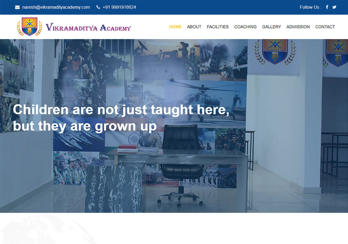 Vikramaditya Academy Website Design Project